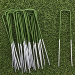 Half Green Artificial Grass Turf U Pins Metal Galvanised Pegs Staples Weed