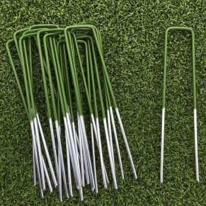 50 Pack Half Green Artificial Grass Turf U Pins Metal Galvanised Pegs Staples Weed